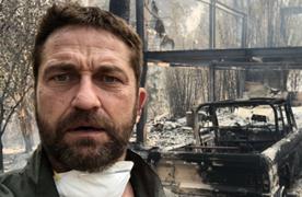 영화 '300' 배우 버틀러, 산불로 잿더미 된 집 배경 셀카 공개