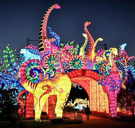 '밤에 빛나는 동물원?'…파리 빛축제 전시회