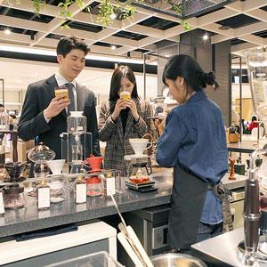현대백화점에서 핸드 드립 커피 시음하세요