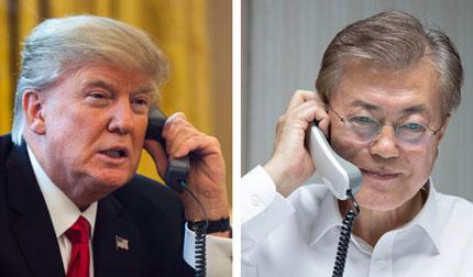 """文대통령-트럼프 """"조속한 정상회담"""" 한 뜻…'北核 공조' 주목"""