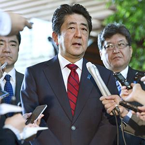 북한 규탄하는 아베 일본 총리