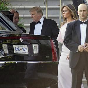 므누신 美재무장관 결혼식 향하는 트럼프 부부