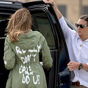 멜라니아 '재킷' 논란…아동격리시설 가면서 '난 상관안해' 문구