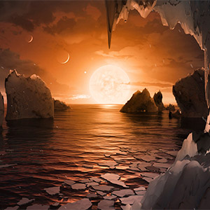 지구 닮은 트라피스트-1f 행성의 표면 상상도
