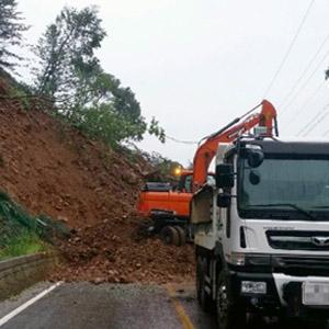 홍천서 산사태…낙석 토사 '1천 톤'