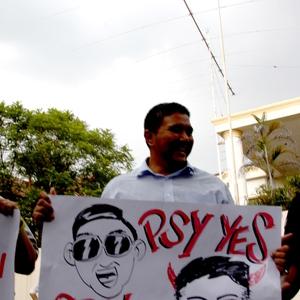 말레이 시민, 북한 대사관 앞 시위