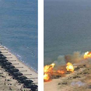 """산케이 """"북한 포격훈련 사진 '부자연', 합성 가능성도"""""""