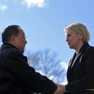 악수하는 북 리용호 외무상과 스웨덴 발스트룀 외교장관