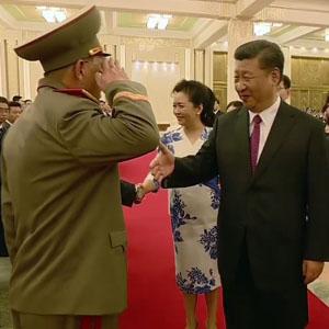 북한 노광철 인민무력상, 시진핑에 거수경례