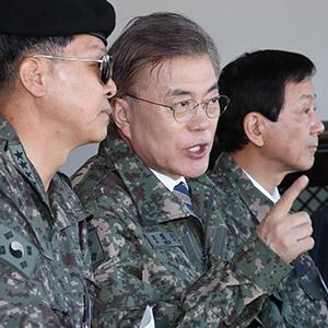 문재인 대선후보, 통합화력훈련 참관