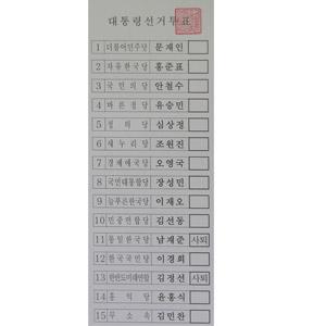 19대 대선 투표용지