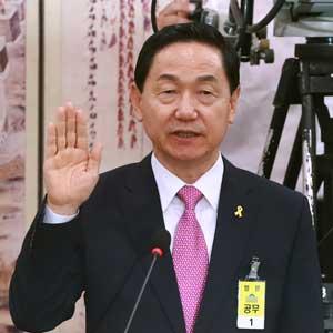 선서하는 김상곤 후보자