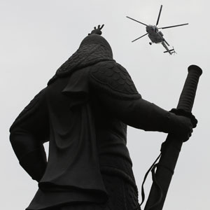 광화문에 나타난 경찰헬기