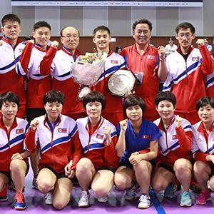 북한 선수단, 코리아오픈 탁구 U-21 우승 기념촬영