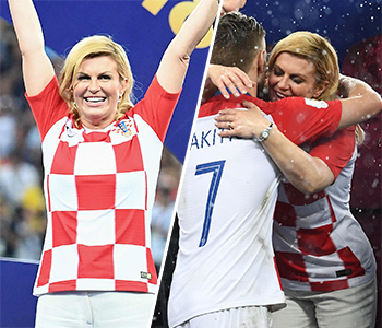 '유니폼입고 선수들과 뜨거운 포옹'…월드컵 스타로 떠오른 크로아티아 대통령