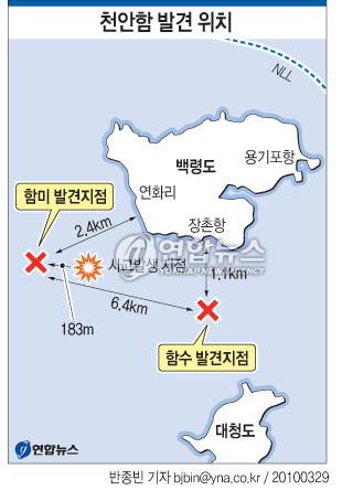 <그래픽> 천안함 발견 위치