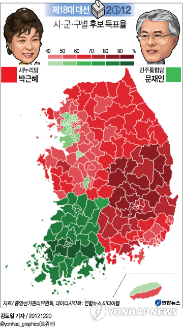 <그래픽> 시ㆍ군ㆍ구별 후보 득표율