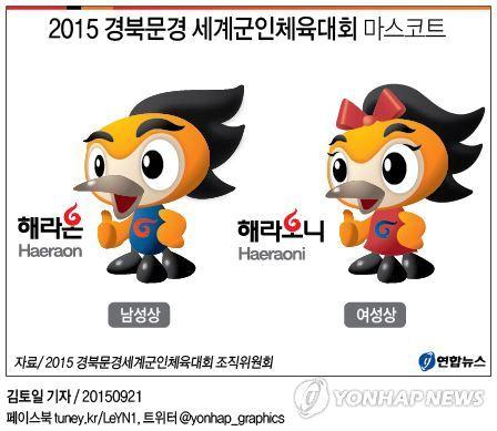 <그래픽> 2015 경북문경 세계군인체육대회 마스코트