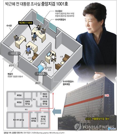 [그래픽] 박 전 대통령 조사실 중앙지검 1001호