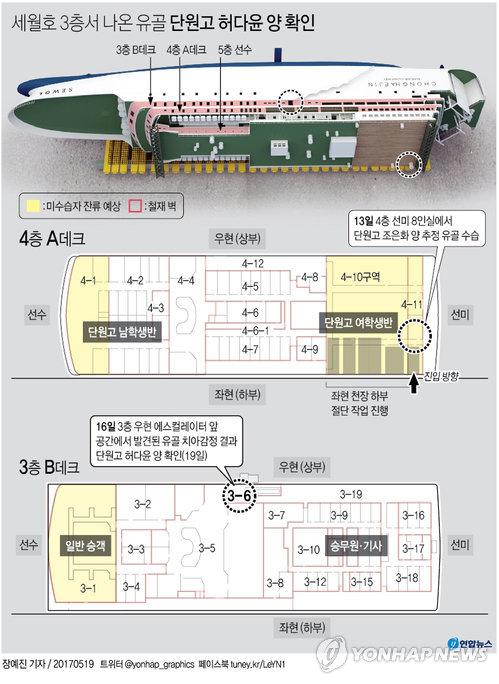 [그래픽] 세월호 3층서 나온 유골 치아감정 결과 단원고 허다윤양 확인