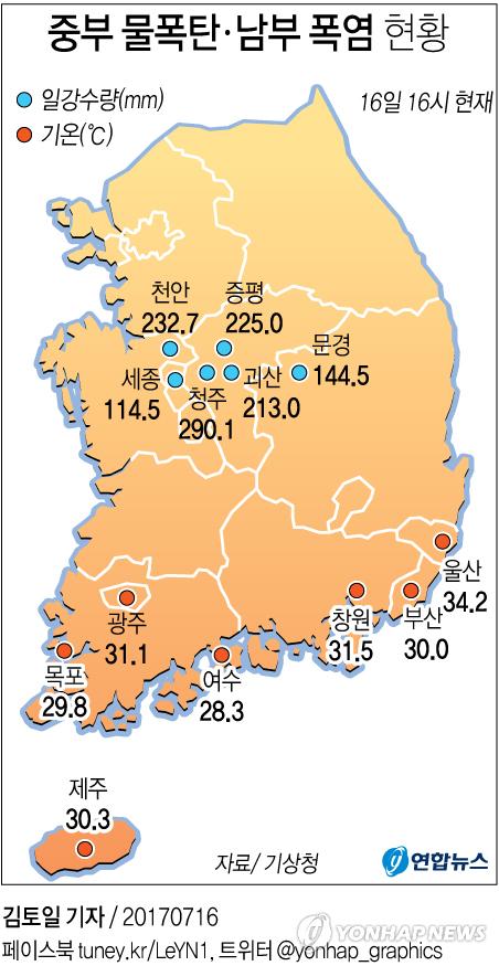 [그래픽] 중부 물폭탄ㆍ남부 폭염 현황