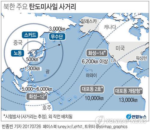 [그래픽] 미국 국방부, 북한 이르면 내년 ICBM으로 미 본토 타격 가능 판단