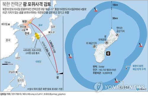 [그래픽] 북한 전략군, 괌에 '화성-12' 4발 포위사격 예고