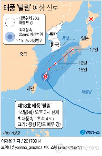 [그래픽] 태풍 '탈림' 북상(종합)