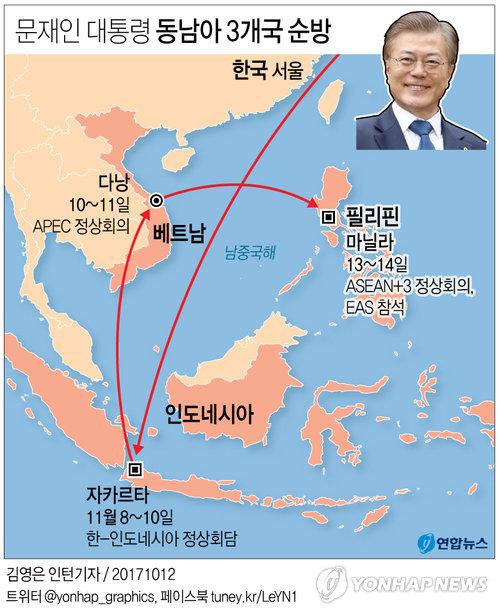 [그래픽] 문 대통령 내달 첫 동남아 순방