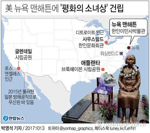 [그래픽] 美동부 첫 '평화의 소녀상' 맨해튼에 들어선다