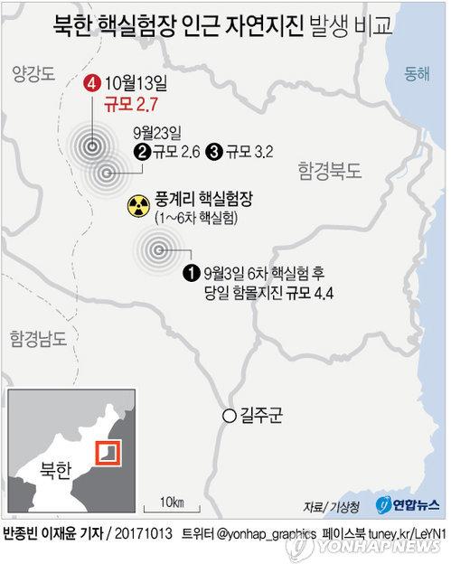 [그래픽] 잦아지는 북한 풍계리 인근 지진, 6차 핵실험 이후 4번째
