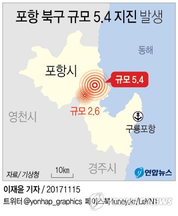 [그래픽] 포항 규모 5.4 지진 발생