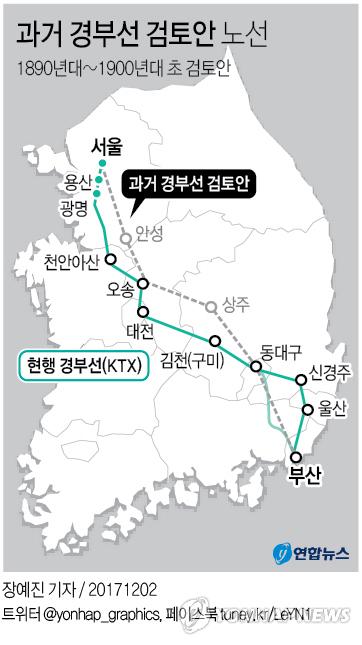 [그래픽] 과거 경부선 검토안 노선