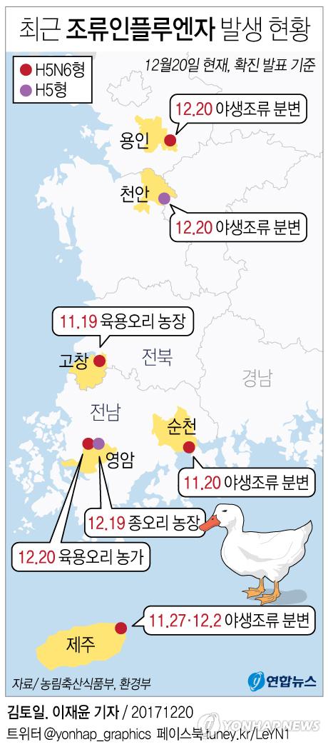 [그래픽] 최근 조류인플루엔자 발생 현황