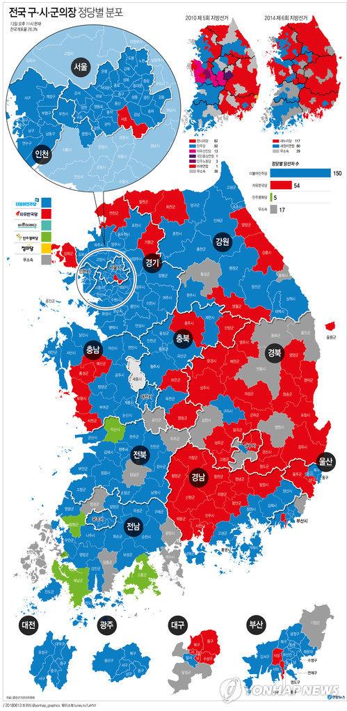 [그래픽] 전국 구.시.군의장 선거 중간 결과