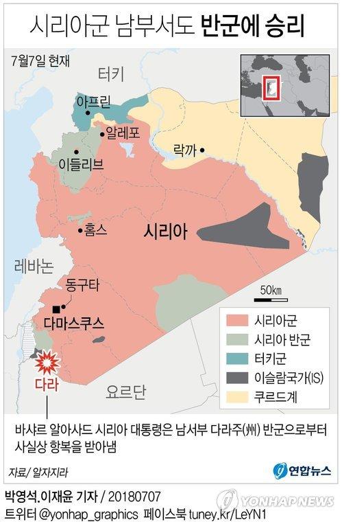 내전 8년차 시리아 세력 분포
