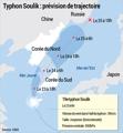 Typhon Soulik : prévision de trajectoire