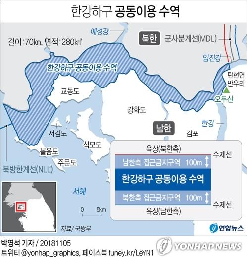 南北は漢江と臨津江が合流する河口の共同利用を目指し水路調査を開始した。濃い水色の部分が共同利用を目指す水域=(聯合ニュース