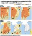 Pronóstico de alcance del material particulado fino (PM2,5) en la península coreana del 14-15 de ene..