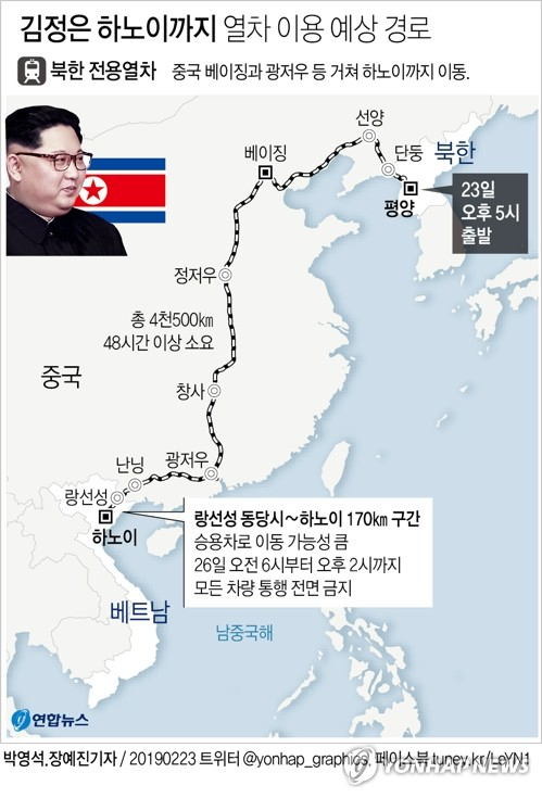 김정은 탑승 추정 北 열차, 단둥 통과…60여시간 여정 개시