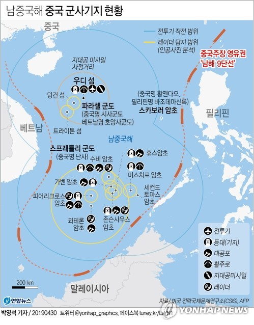 미국 상원의원들, '남·동중국해 불법행위 제재법안' 발의