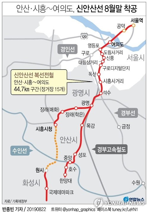 '안산·시흥∼여의도 25분' 신안산선 8월말 착공…2024년 개통