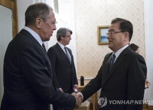 مستشار الأمن الوطني للمكتب الرئاسي جونغ وي-يونغ يصافح وزير الخارجية الروسي سيرجي لافروف في موسكو بروسيافي يوم 13 مارس بتوقيت روسيا