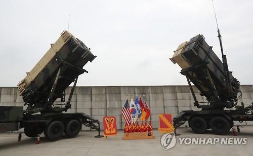 """资料图片:驻韩美国陆军第8集团军第35防空炮兵旅""""爱国者-3""""防空导弹。(韩联社)"""
