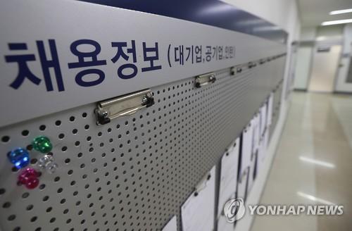 资料图片:就业信息栏上空空如也。(韩联社)