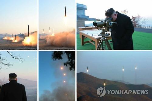 这是朝鲜《劳动新闻》7日公开的导弹试射场景。图片仅限韩国国内使用,严禁转载复制。(韩联社/朝鲜《劳动新闻》)