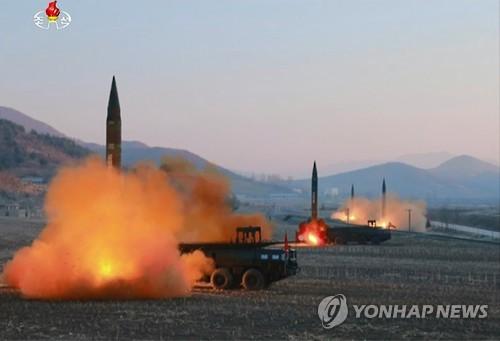 朝鲜中央电视台7日公开了前一天射弹的现场图片。图片仅限韩国国内使用,严禁转载复制。(韩联社/朝鲜央视)