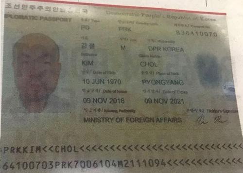 """金正男使用的名为""""金哲""""的护照 (韩联社/推特截图)"""