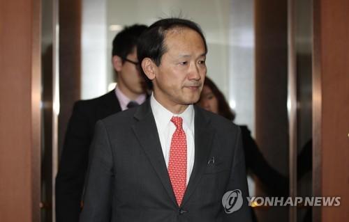 资料图片:图为日本驻韩国大使馆总括公使铃木秀生被韩国外交部召见。(韩联社)