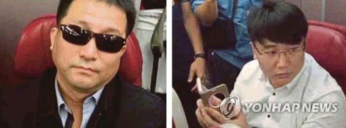 金正男遇刺案涉案人、朝鲜驻马大使馆二等秘书玄某(左)和高丽航空职员金某(韩联社)